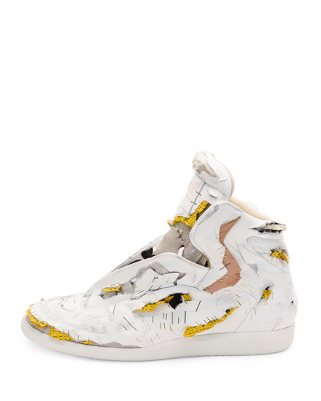 Maison Margiela Future Destroyed High-Top Sneaker, White/Yellow