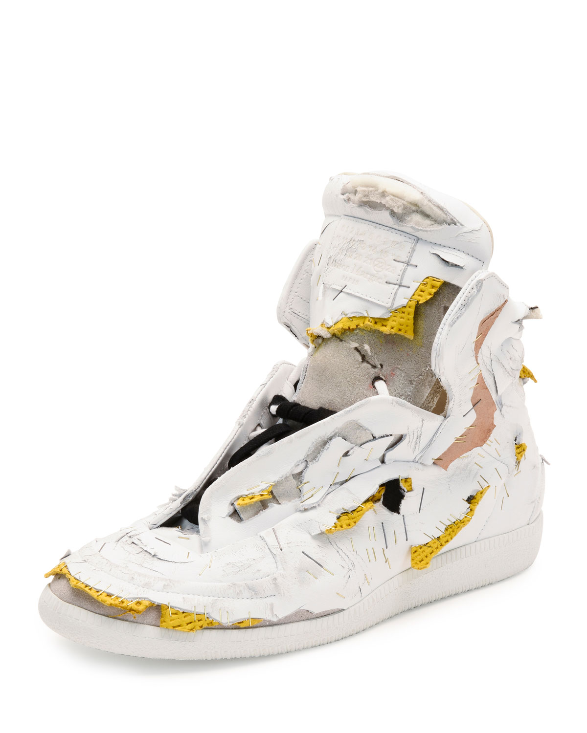 cce1f151224 Future Destroyed High-Top Sneaker, White/Yellow