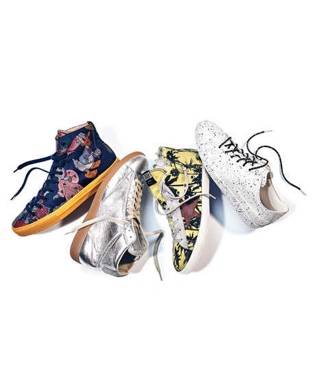 Replica Metallic Leather Mid-Top Sneaker, Silver/Amber