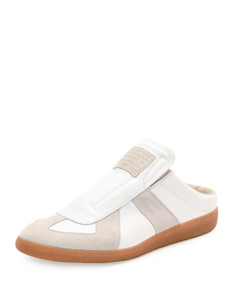 Maison Margiela Replica Leather & Suede Slide, White