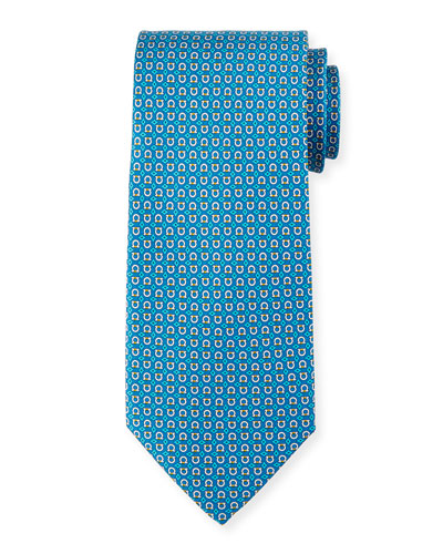 Gancini with Diamond Silk Tie, Teal