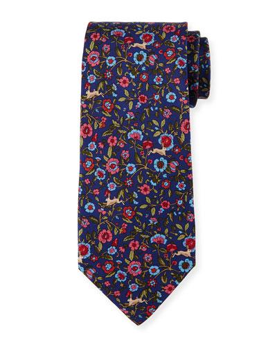 Rabbit Tapestry Silk Tie, Navy