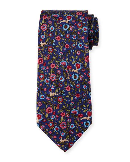 Salvatore Ferragamo Rabbit Tapestry Silk Tie