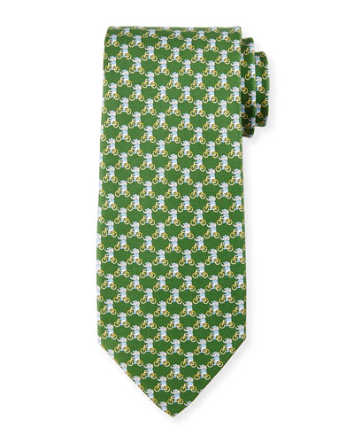 Elephant on Bicycle Silk Tie, Green