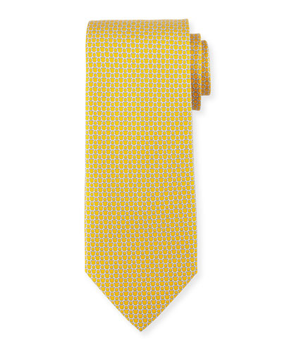 Micro Gancini Links Silk Tie, Yellow