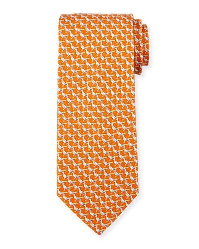 Pheasant Silk Twill Tie, Orange