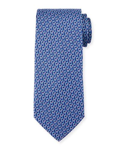 Interlocking Gancini Silk Tie, Navy