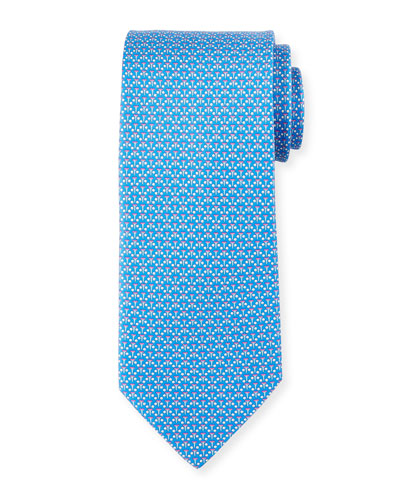Micro-Golf Patterned Silk Tie, Blue