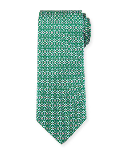 Micro-Golf Patterned Silk Tie, Green