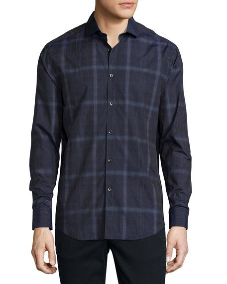 Glen Plaid Woven Sport Shirt, Navy