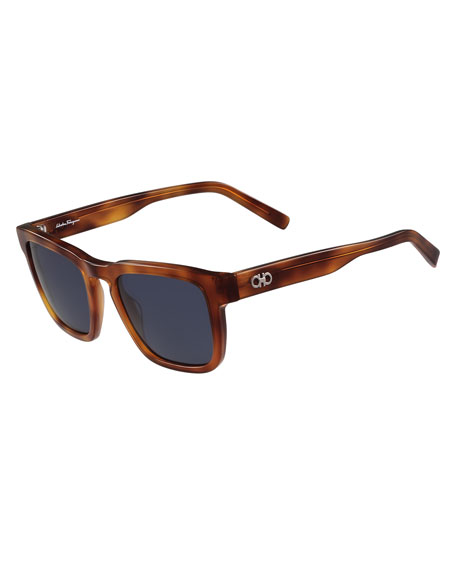 Gancini Square Polarized Acetate Sunglasses, Light Tortoise