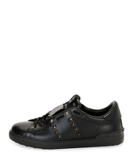 Rockstud Untitled Men's Leather Low-Top Sneaker, Black