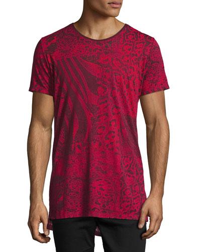 Marcuso Mixed Animal-Print T-Shirt, Red