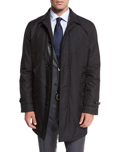 Single-Breasted Macintosh Jacket, Black