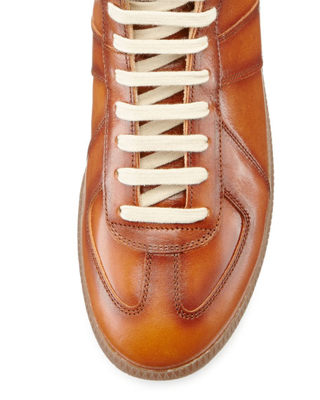 Men's Replica Leather Mid-Top Sneaker, Brown