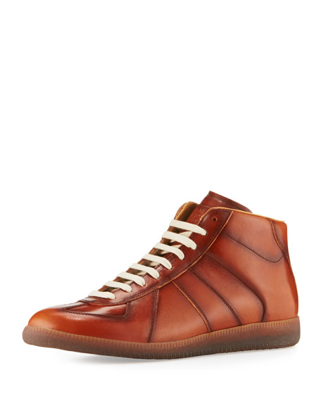 Maison Margiela Men's Replica Leather Mid-Top Sneakers, Brown