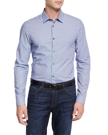 Reagan Slim-Fit Dobby-Print Sport Shirt, Cobalt