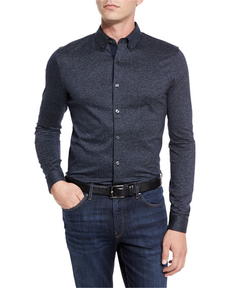 Textured Woven Sport Shirt, Midnight