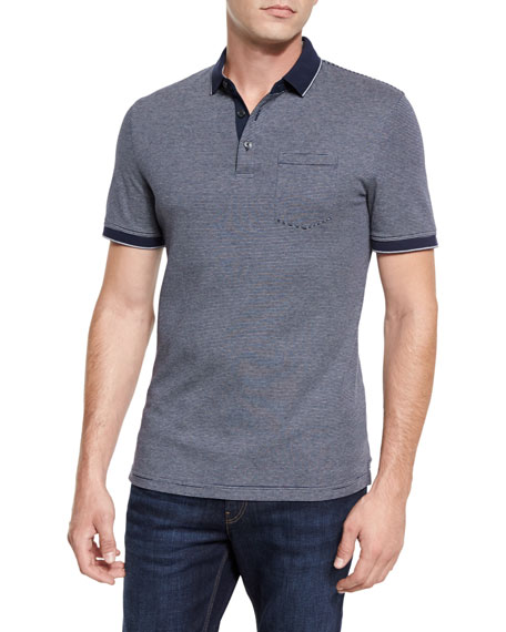 Michael Kors Fine-Stripe Pocket Polo Shirt, Navy