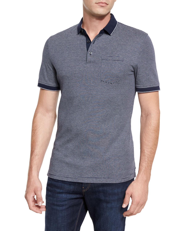 bee13e83 Michael Kors Fine-Stripe Pocket Polo Shirt, Navy   Neiman Marcus