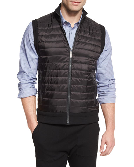 Quilted-Front Knit Vest, Black