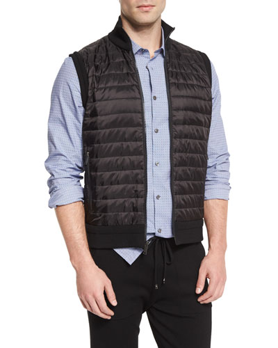 Quilted-Front Knit Vest, Black