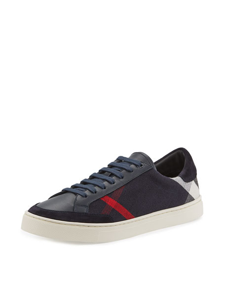 Burberry Reynold Check & Leather Sneaker, Navy