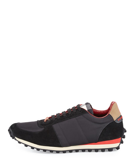 Men's Fabric & Suede Trainer w/Check Trim, Black