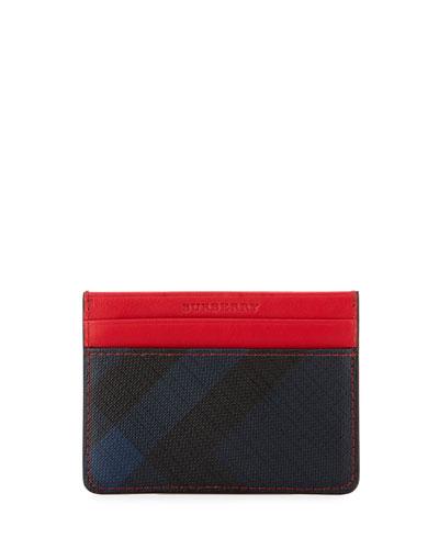 discount mens designer wallets kg0l  Sandon Check & Contrast Card Case, Navy/Red