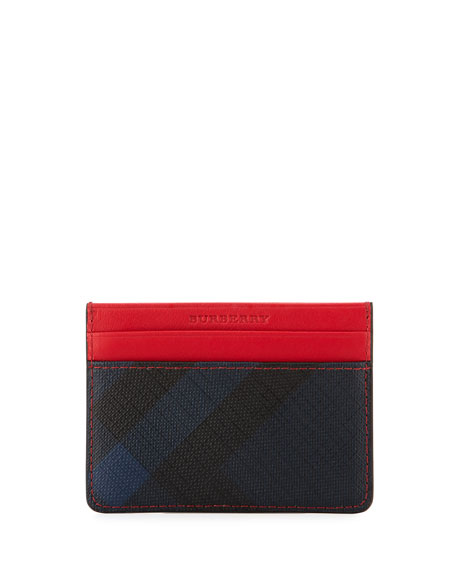 Burberry Sandon Check & Contrast Card Case, Navy/Red