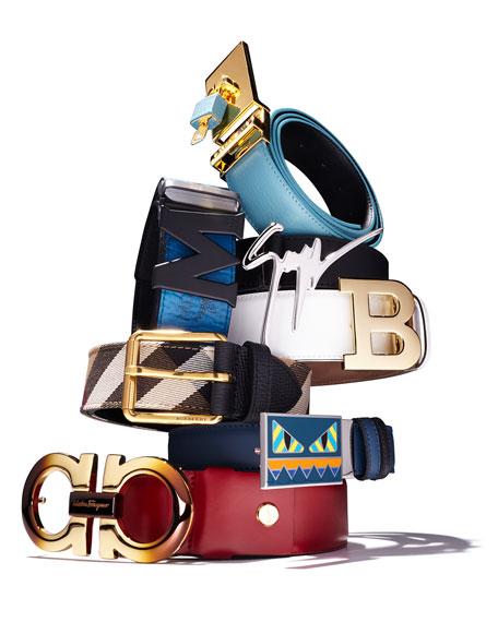 Mark House Check Belt, Camel/Black