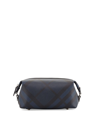 Lance London Check Travel Toiletry Case, Navy