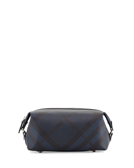 Burberry Lance London Check Travel Toiletry Case, Navy