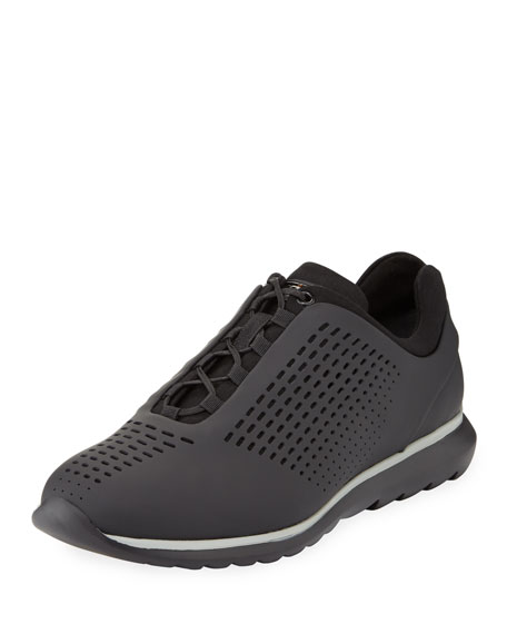 Ermenegildo Zegna Techmerino Rubberized Sneaker, Black