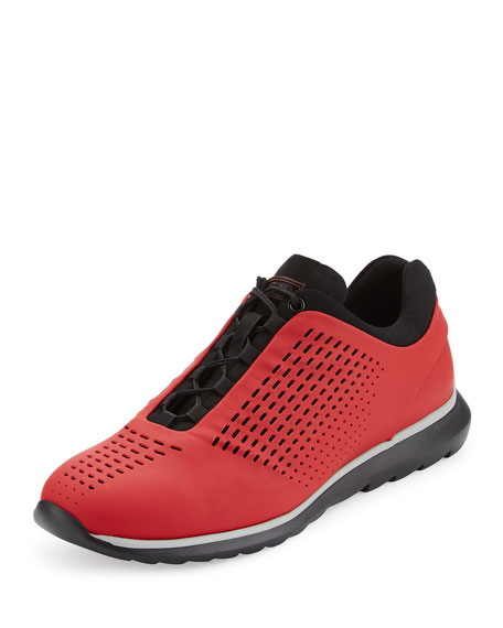 Ermenegildo Zegna Techmerino Rubberized Sneaker, Red