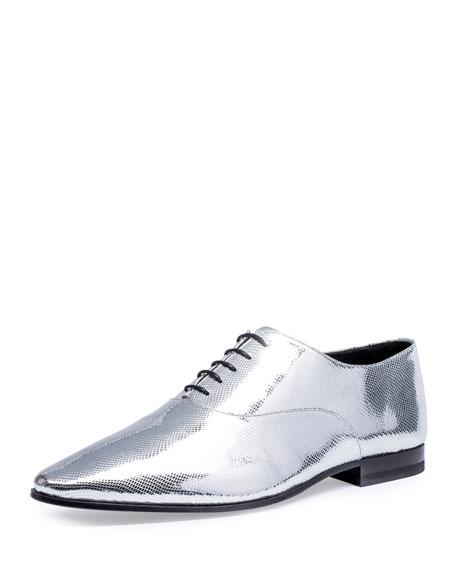 Saint Laurent Lulu Metallic Python-Embossed 20mm Oxford Shoe,