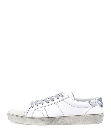 Men's SL/37 Distressed Low-Top Sneakers, White/Silver