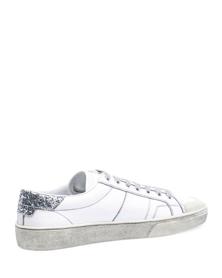 SL/37 Distressed Low-Top Sneaker, White/Silver