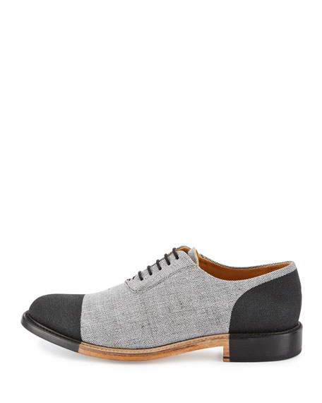 The Seymour for EKOCYCLE Cap-Toe Oxford Shoe, Black/Gray