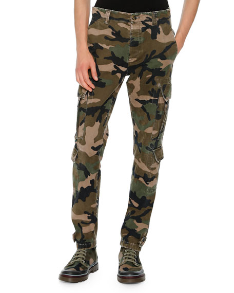 Valentino Camouflage Twill Cargo Pants, Green