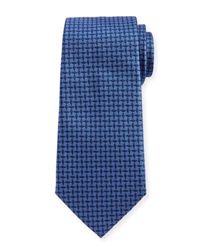 Neat Woven Pinwheel Silk Tie, Blue
