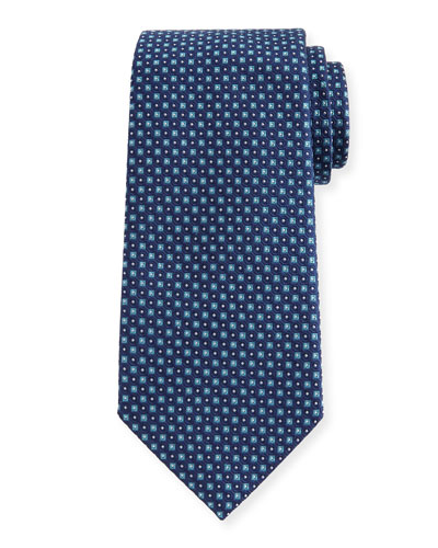 Woven Micro-Neat Silk Tie, Teal
