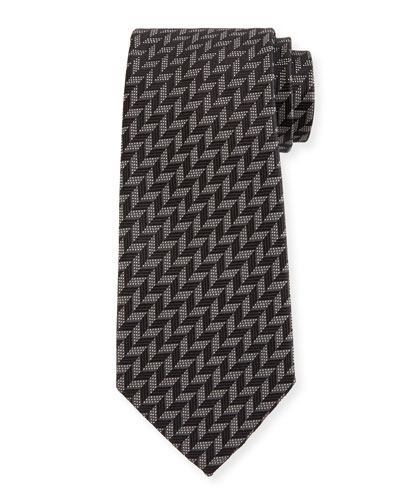 Woven Zigzag Silk Tie, Black