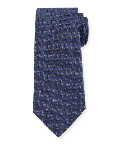 Woven Zigzag Silk Tie, Blue