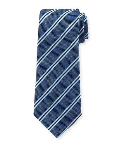 Woven Diagonal-Stripe Silk Tie, Navy