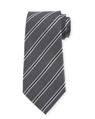 Woven Diagonal-Stripe Silk Tie, Gray