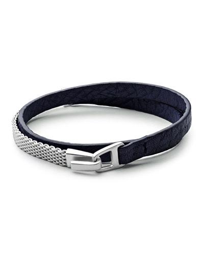 Moore Medium Leather & Chain Mesh Wrap Bracelet, Navy