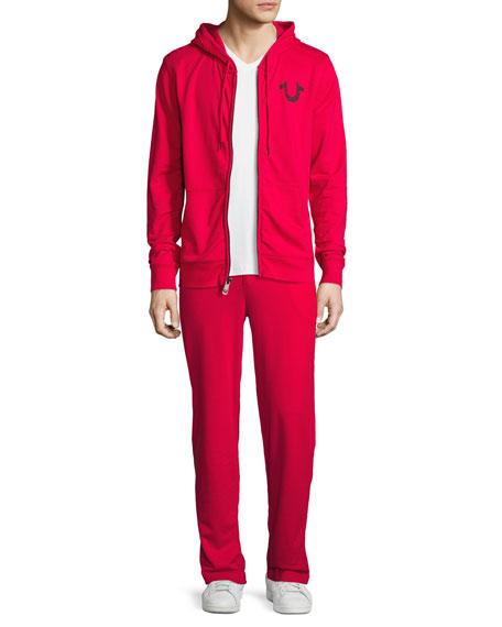 Wide-Leg Sweatpants, Red