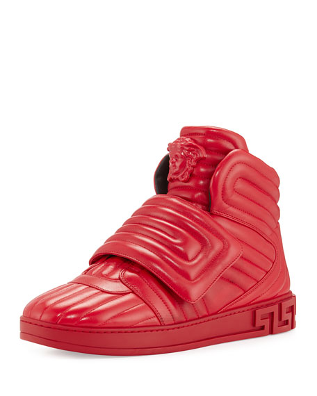 Versace Aros Men's Quilted Leather High-Top Sneaker, Geranium