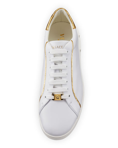 Men's Golden-Trim Leather Low-Top Sneakers, White